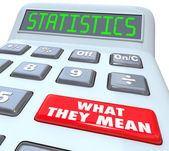 Statistics word on a calculator and red button — Stock Photo