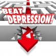 Beat Depression 3d words on a maze and arrow breaking through — Stock Photo #61370685