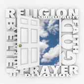 Religion Faith Belief Door Opening to Follow God or Spirituality — ストック写真
