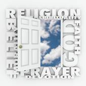 Religion Faith Belief Door Opening to Follow God or Spirituality — Stock Photo