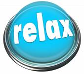 Relax word on a 3d button — Stock Photo