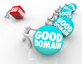Good Domains vs Bad words on spheres — Stock Photo
