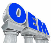 OEM letters standing for original equipment manufacturer on marble columns — Stock Photo