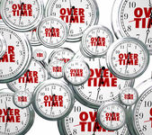 Overtime word on clocks flying by — Stock Photo