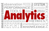 Analytics and related words in a collage background — Stock Photo