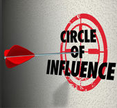 Circle of Influence words on a target with arrow hitting it — Stock Photo