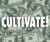 Cultivate Word on money background — Photo