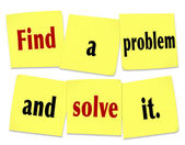 Find a Problem and Solve It words on sticky notes — Stock Photo