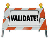 Validate Word Barricade Verify Truth Status Certify Results — Stock Photo