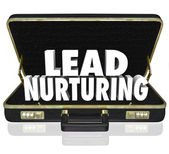 Lead Nurturing 3d words in a black leather briefcase — Stock Photo