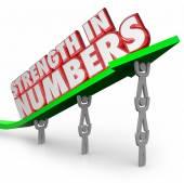 Strength in Numbers 3d words on an arrow — Foto de Stock