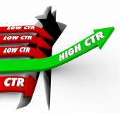 High CTR words on a green arrow rising — Stock Photo