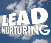 Lead Nurturing 3d words on a cloudy blue sky — Stock Photo
