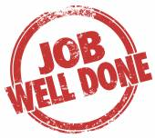 Job Well Done words in red stamp — Stock Photo