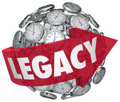 Legacy word on a red arrow around a ball — Stock Photo