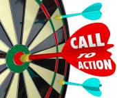 Call to Action words on a dart hitting a target — Stock fotografie