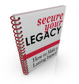 Secure Your Legacy words on a book cover — Stock Photo