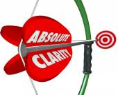 Absolute Clarity words on bow and arrow — Stock Photo