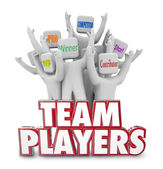 Team Players words in 3D red letters and people — Stock Photo