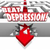 Beat Depression 3d words on a maze and arrow breaking through — Stock Photo
