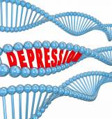 Depression word in 3d letters in a DNA — Stock Photo