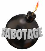 Sabotage word in 3d letters on a black round bomb — Foto de Stock