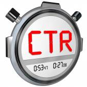 CTR letters in acronym on stopwatch clock — Stock Photo