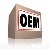 OEM word, letters or acronym on a label on cardboard box — Stock Photo