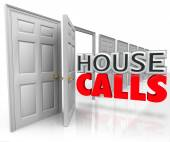 House Calls 3d words coming out an open door — Stockfoto