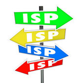 ISP abbreviation or acronym on several colored arrow signs — Stock Photo