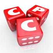 CPC words in abbreviation or acronym on three red dice — Stock Photo