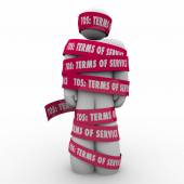 TOS Terms of Service words on red tape wrapped around a person — Stock Photo