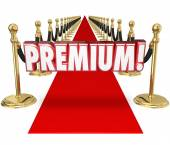 Premium word in 3d letters on a red carpet — Stock Photo