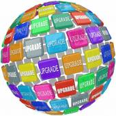 Upgrade word on 3d tiles in a ball — Stockfoto