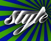 Style word in 3d letters on a blue and green background — Stock Photo