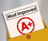 Most Improved words on a report card — Stock Photo