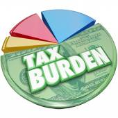 Tax Burden words on a 3D pie chart — Stock Photo