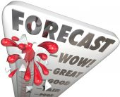Forecast word on a thermometer — Stock Photo