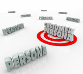 Customer Persona 3D words on a bulls-eye or target — Stock Photo