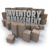 Inventory management words in 3d letters surrounded by cardboard boxes — Stock Photo