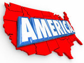 America word in 3D letters on a map — Stockfoto