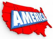 America word in 3D letters on a map — Foto de Stock