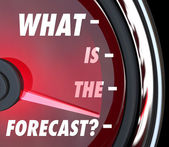 What is the Forecast words on a speedometer — Stock Photo