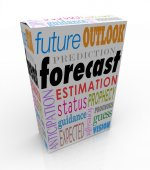 Forecast and related words on a 3d product box — Stock Photo