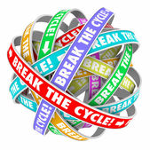 Break the Cycle words on rings — Stock Photo