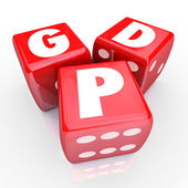 Gross Domesic Product GDP letters on three red dice — Photo