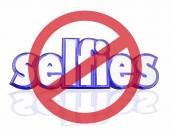 No Selfies symbol on 3d letters — Stock Photo
