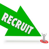 Recruit arrow pointing at the top — Stock Photo