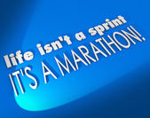 Life Isn't a Sprint It's a Marathon 3D words — Stock Photo