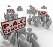 PAC Political Action Committee words on signs and people — Stock Photo
